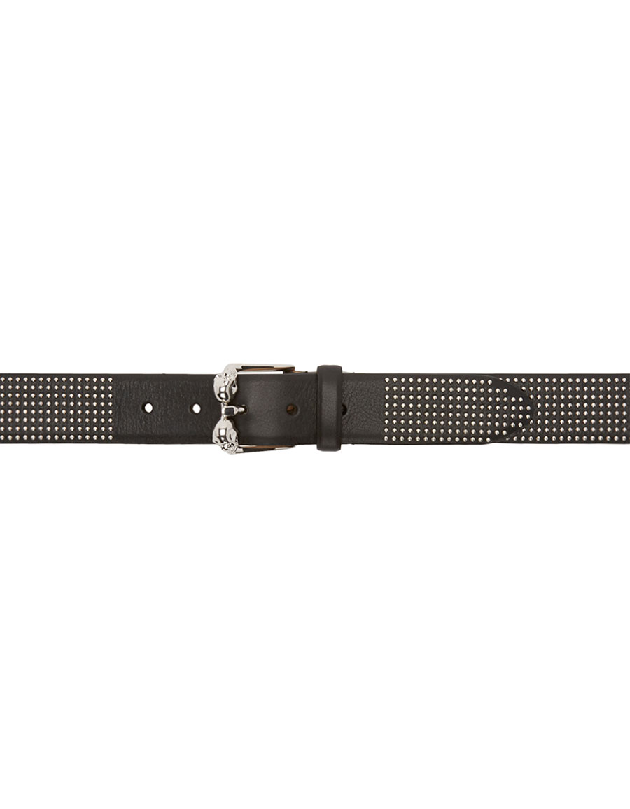 ALEXANDER MCQUEEN Black Leather Studded Skull Belt