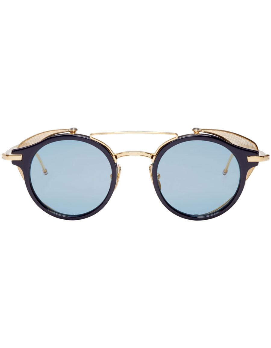 THOM BROWNE Navy & Gold Visor Sunglasses