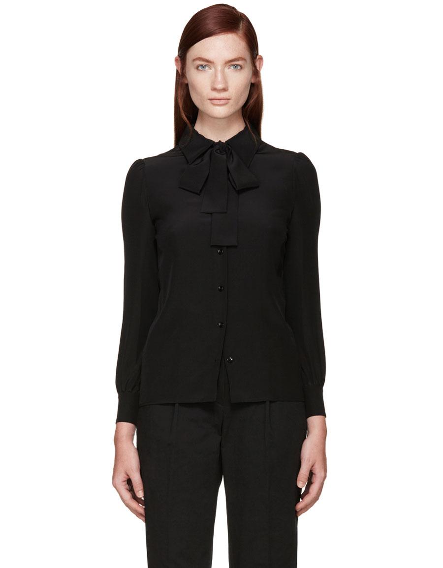 SAINT LAURENT Black Silk Bow Shirt