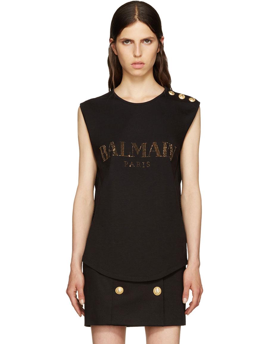 BALMAIN Black Crystal Logo T Shirt
