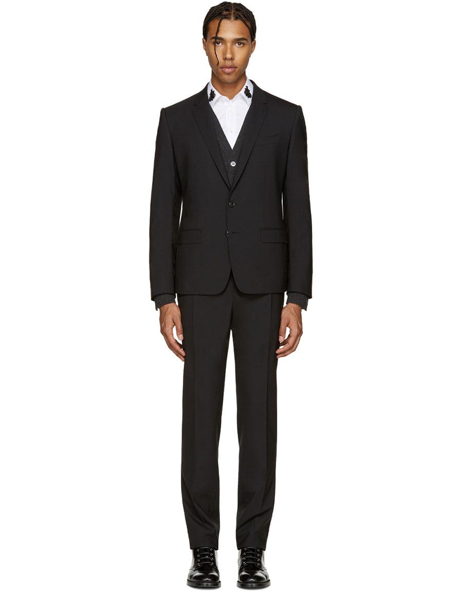 DOLCE & GABBANA Black Wool Martini Suit