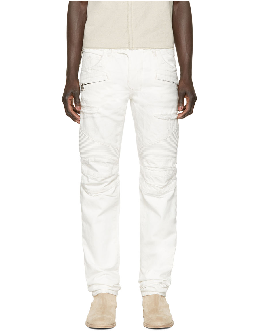 BALMAIN White Distressed Biker Jeans