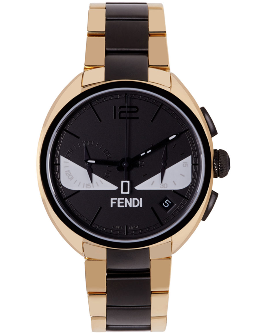 FENDI Gold & Black Momento Bugs Watch