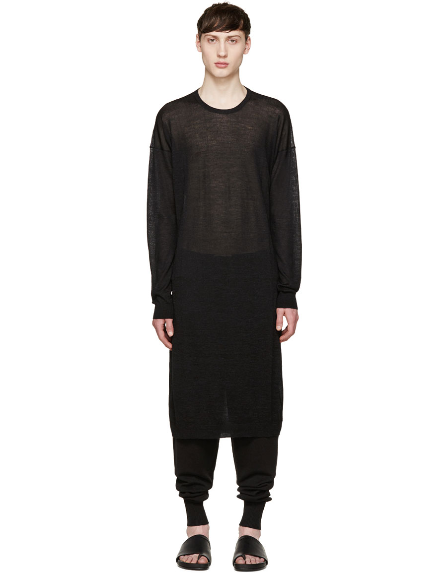 THAMANYAH Black Cashmere Long Sweater