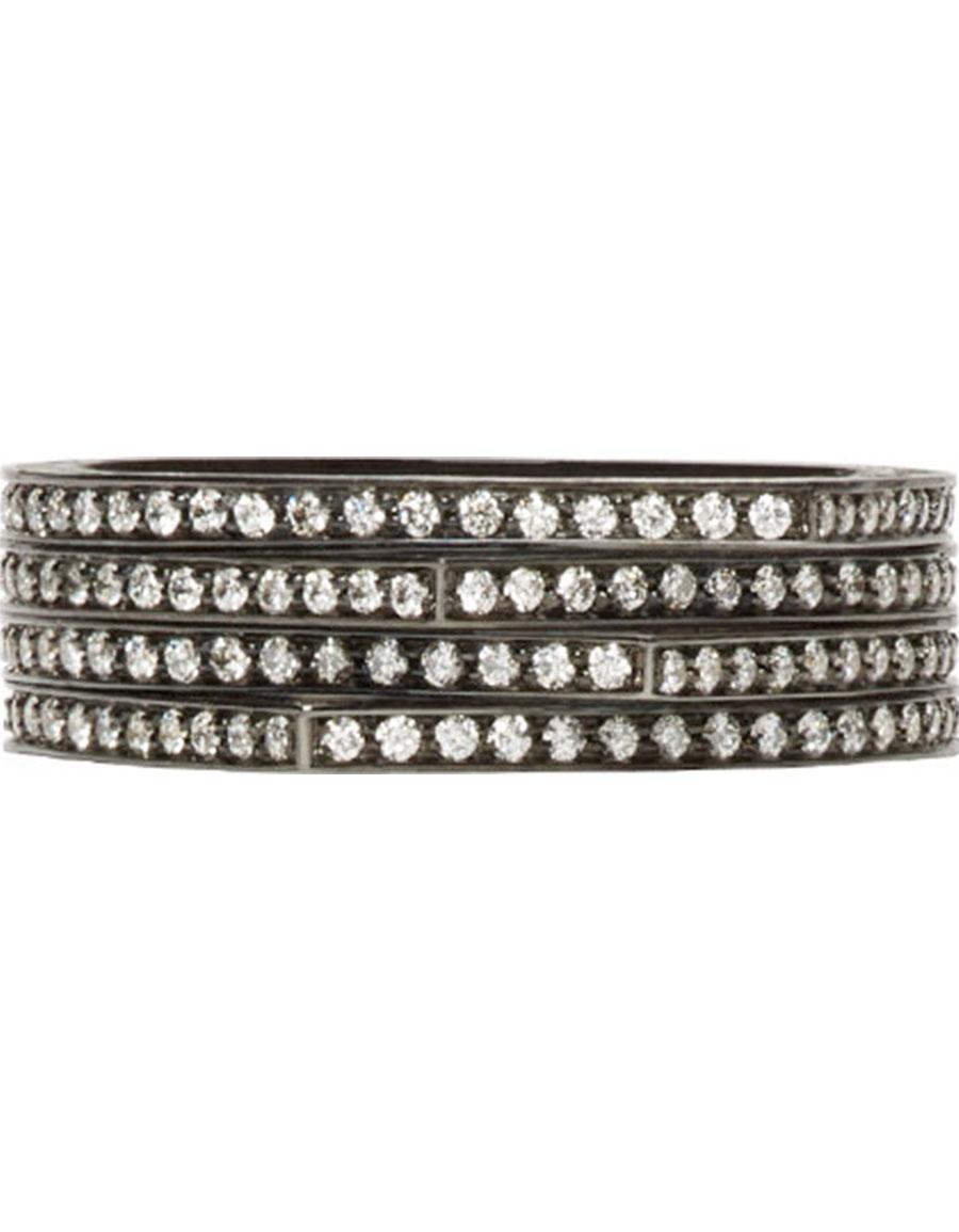 REPOSSI Black Gold & Diamond Pavé Four Band Antifer Ring