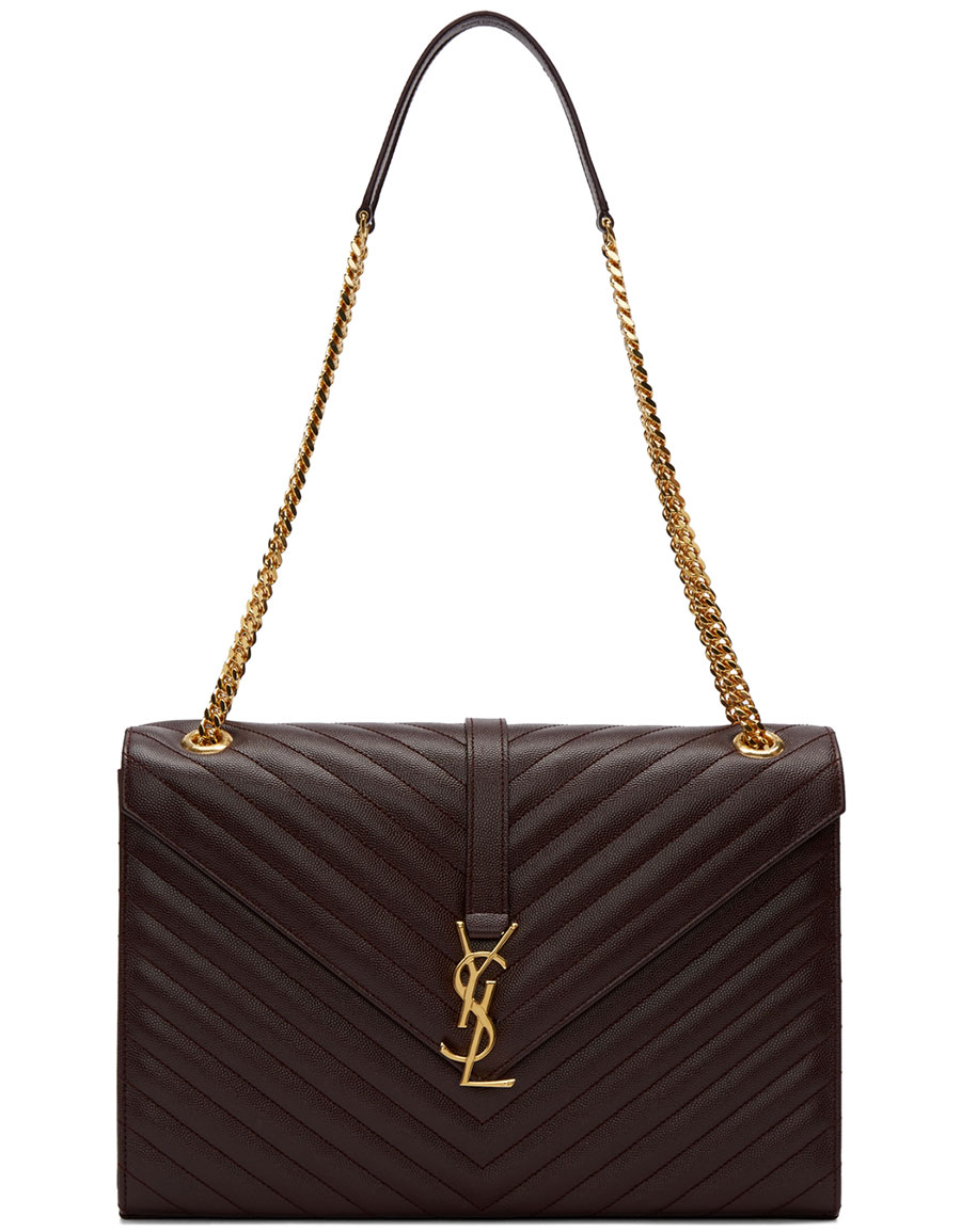 SAINT LAURENT Burgundy Quilted Large Monogram Chain Bag
