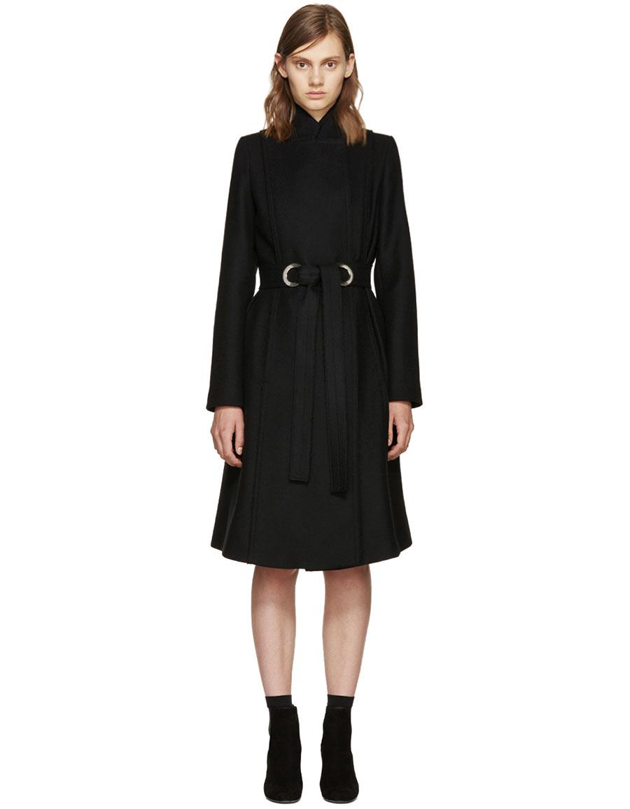 PROENZA SCHOULER Black Wool Belted Coat