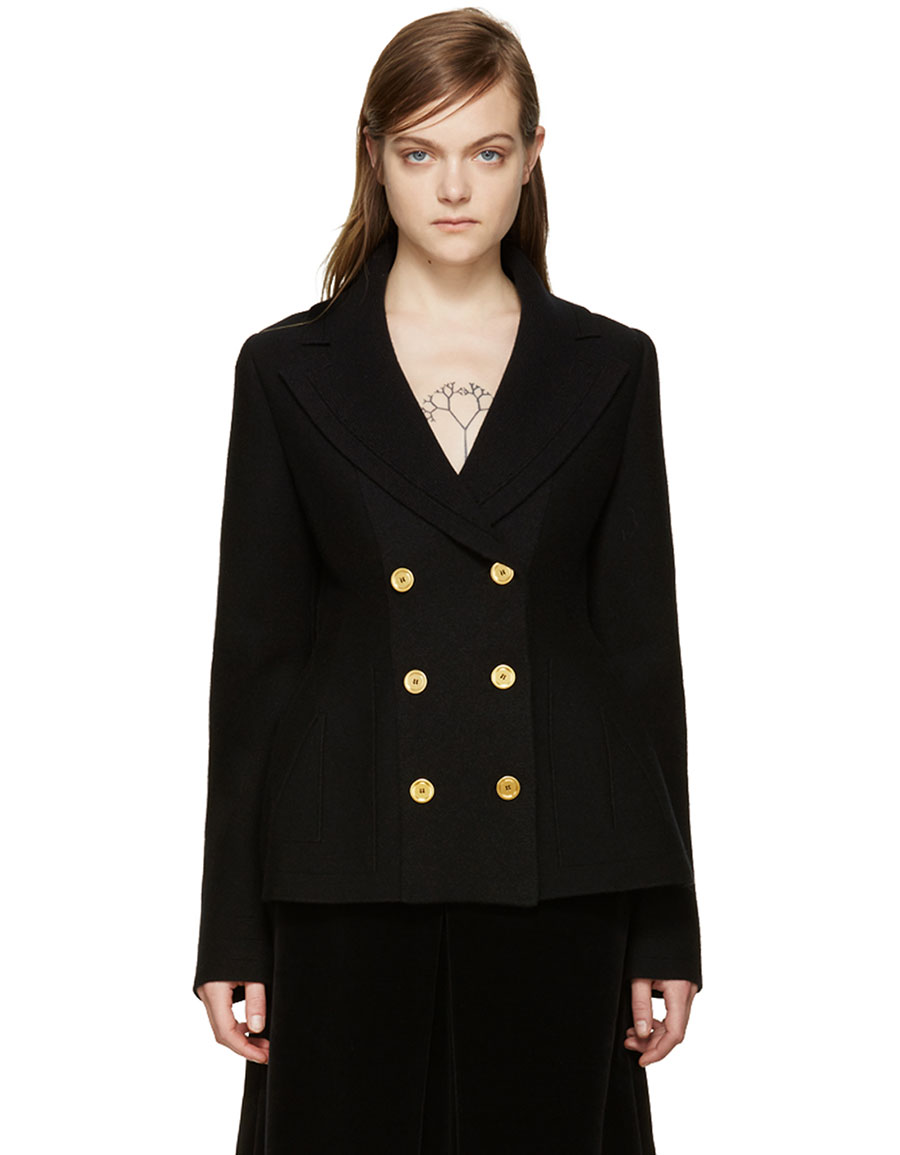 ALEXANDER MCQUEEN Black Double Breasted Cardigan