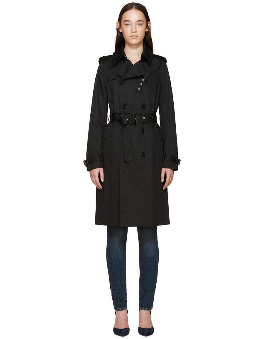 SAINT LAURENT Black Gabardine Trench Coat