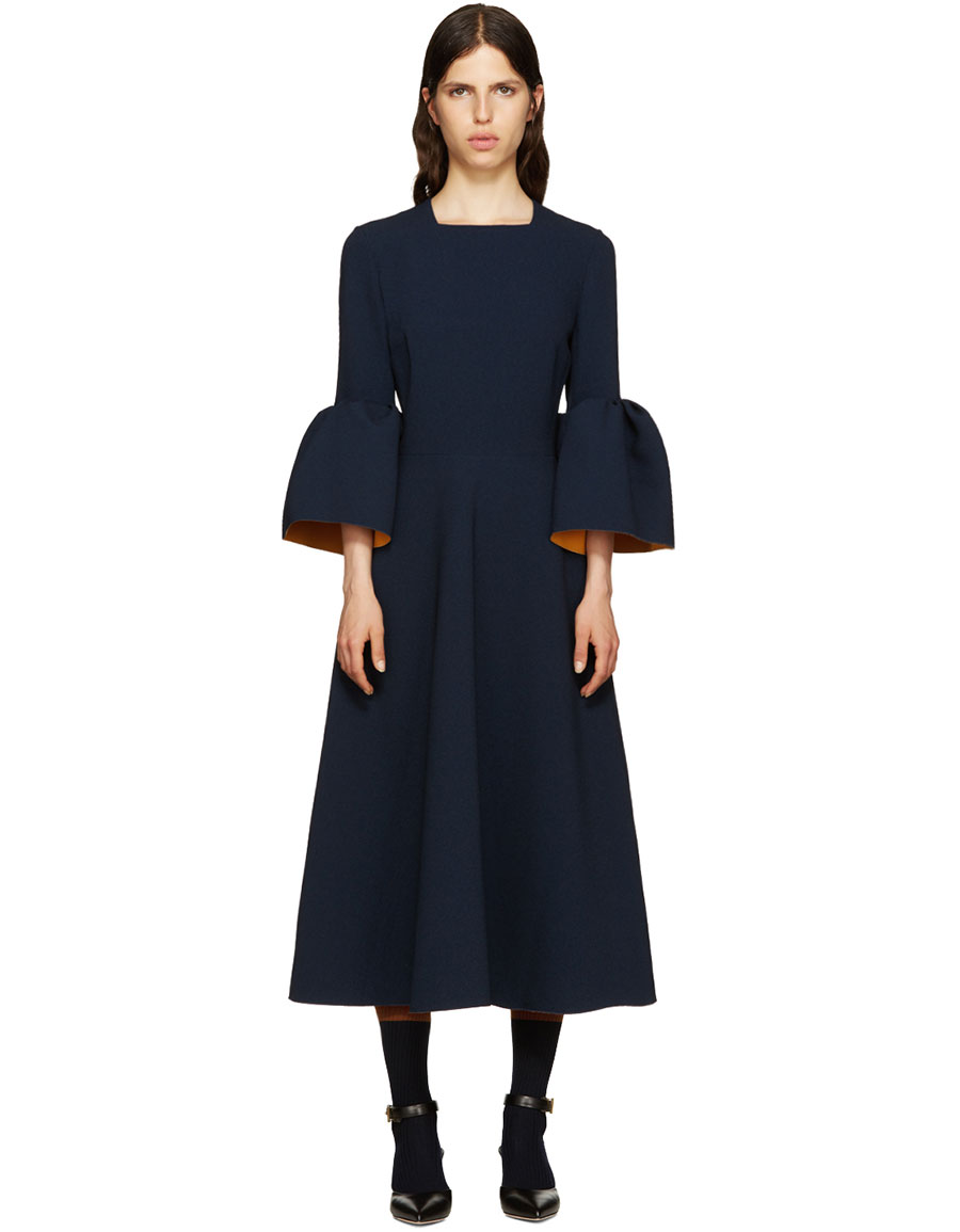 ROKSANDA Navy Ruffle Turlin Dress