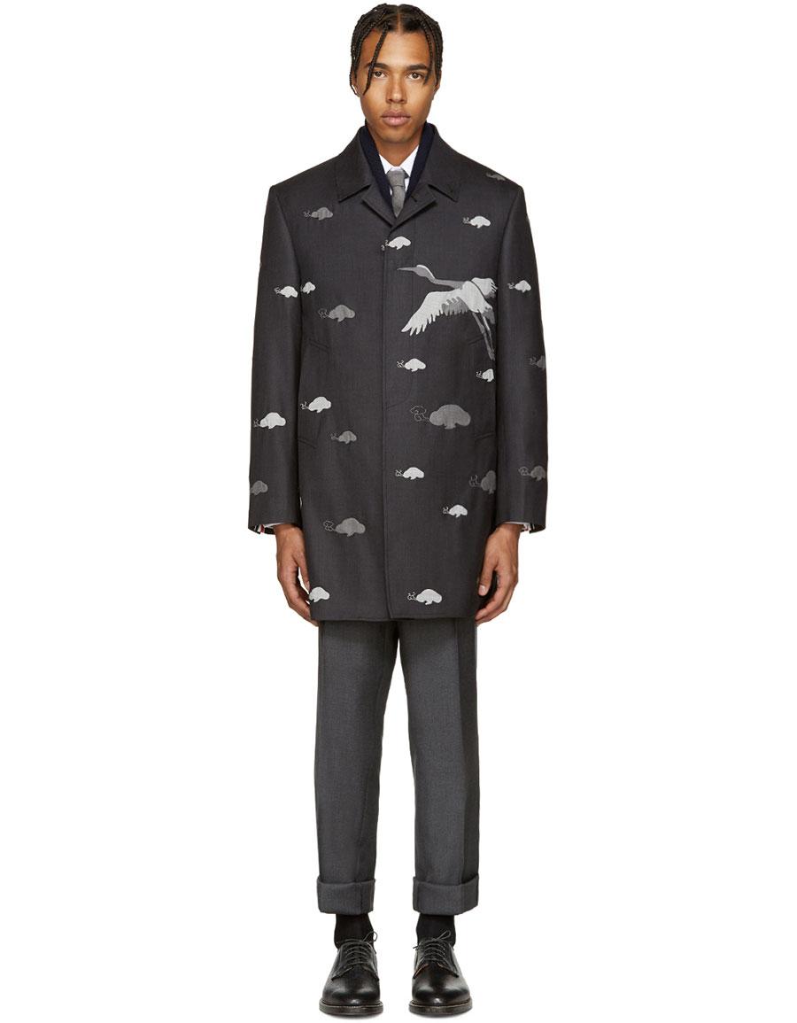 THOM BROWNE Grey Wool Crane Coat
