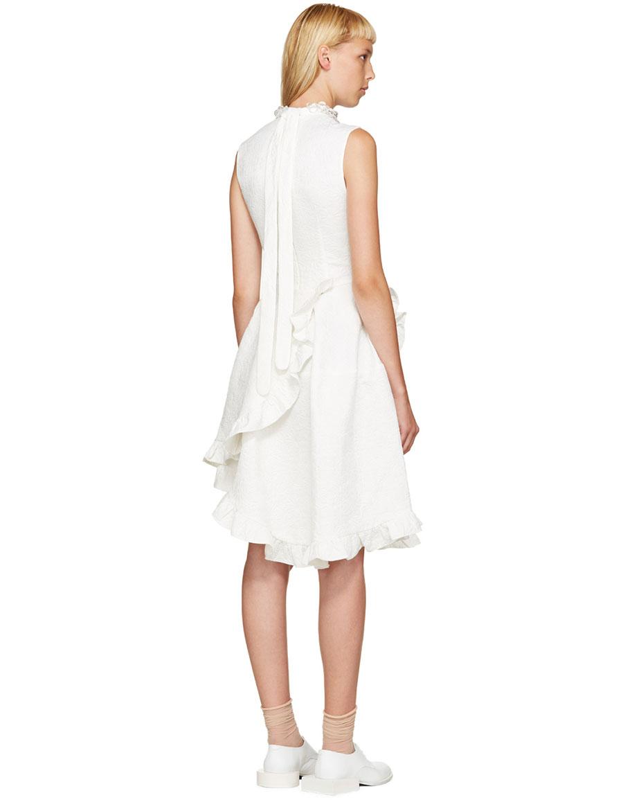 SIMONE ROCHA Ivory Crystal & Ruffles Dress