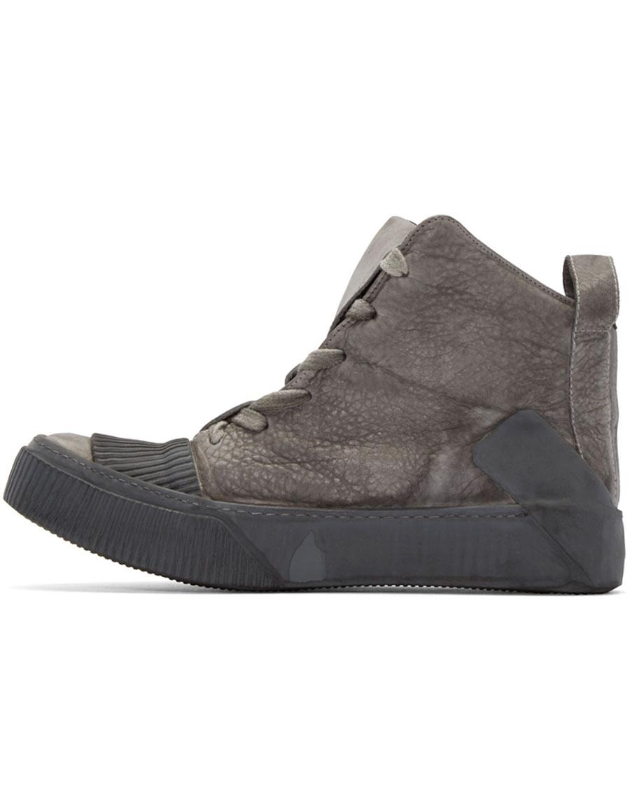 BORIS BIDJAN SABERI Grey Leather Bamba 1 High Top Sneakers