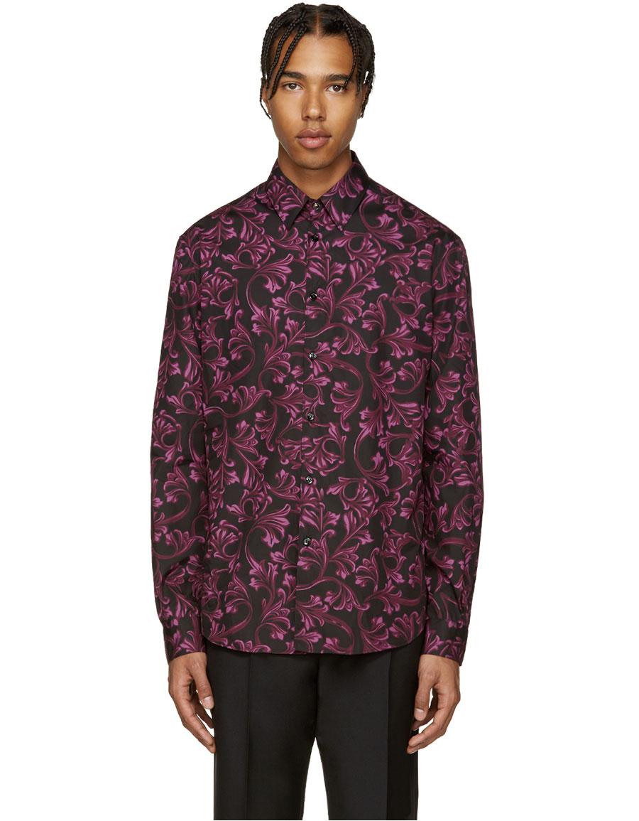 VERSACE Black & Purple Baroque Shirt