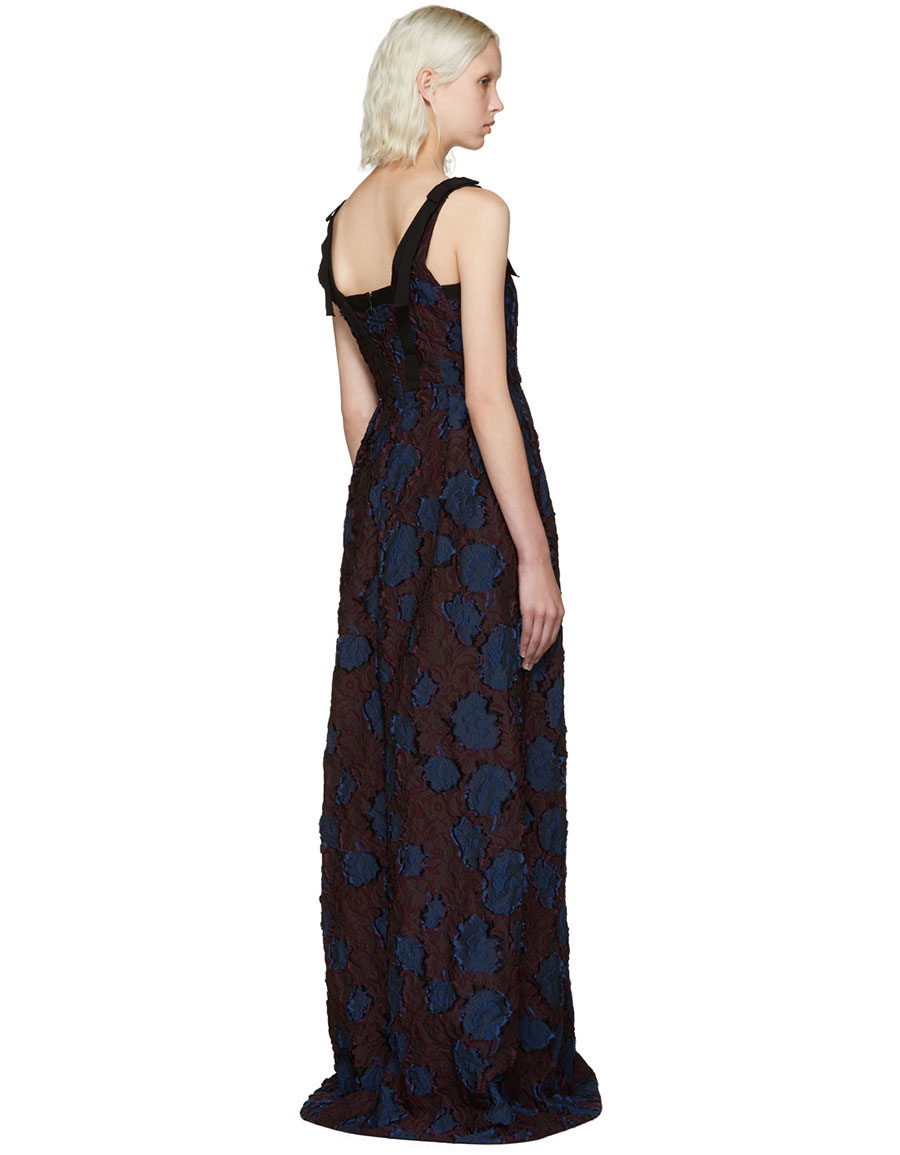 ERDEM Burgundy & Navy Ceren Dress
