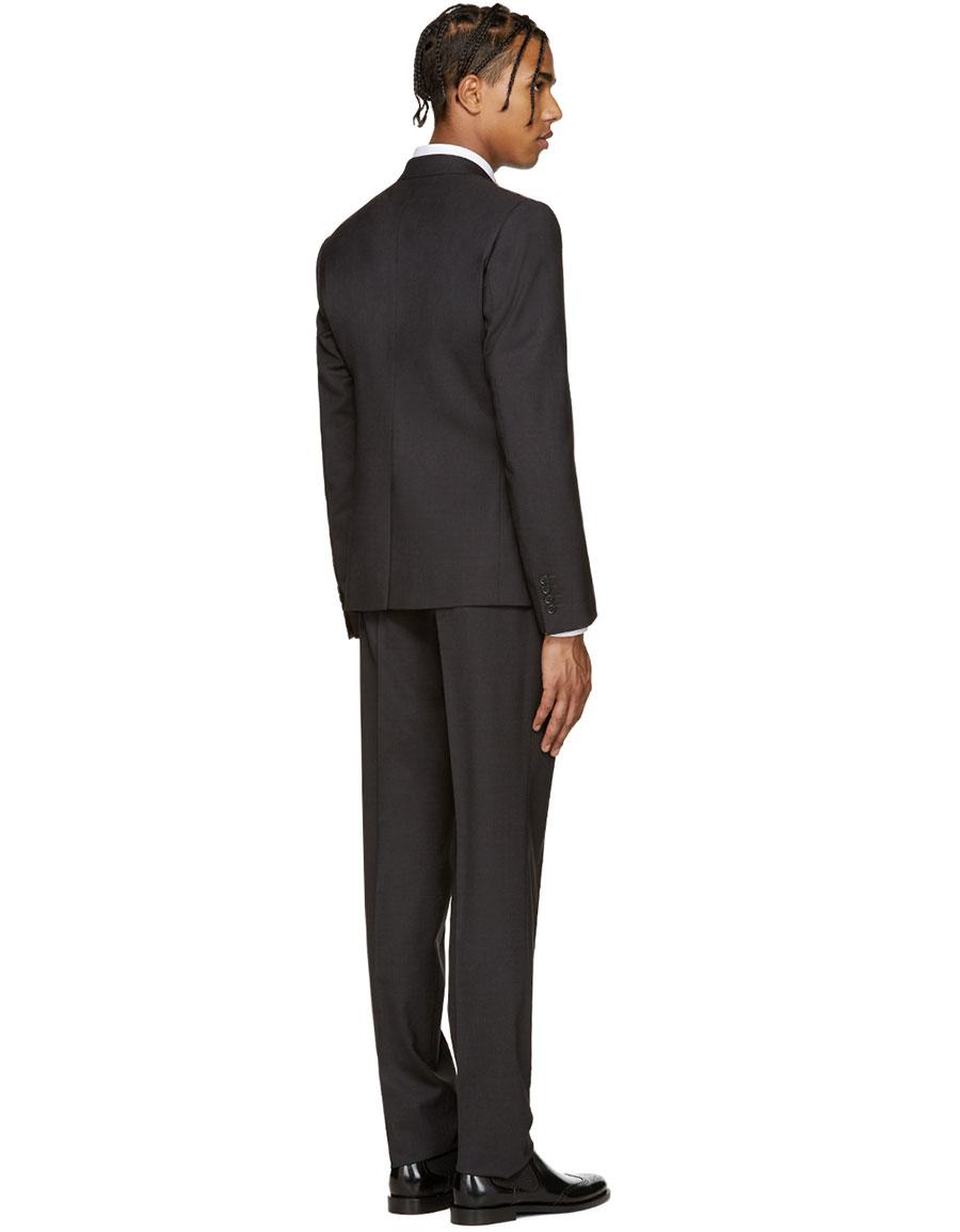 DOLCE & GABBANA Grey Wool Martini Suit