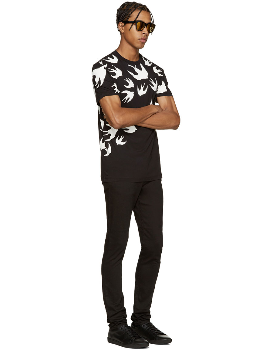 ALEXANDER MCQUEEN Black Swallows T Shirt