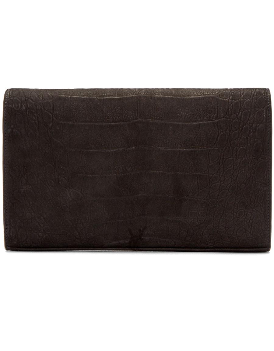 SAINT LAURENT Black Nubuck Rustic Monogram Chain Wallet