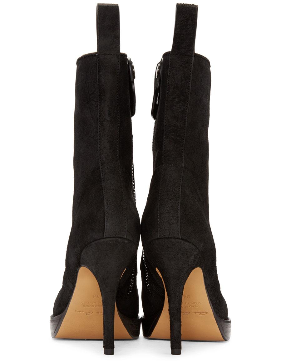RICK OWENS Black Suede Stiletto Platform Boot