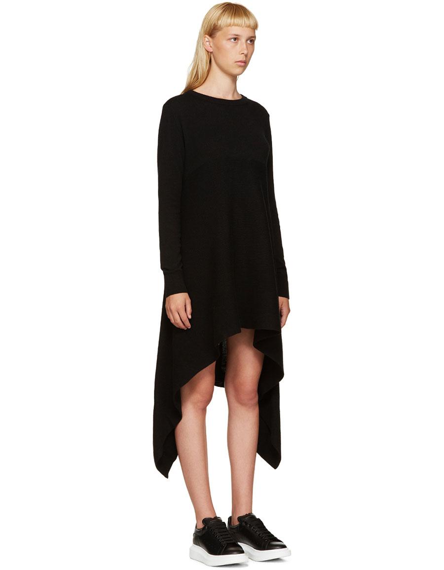 ALEXANDER MCQUEEN Black Cashmere Asymmetric Dress