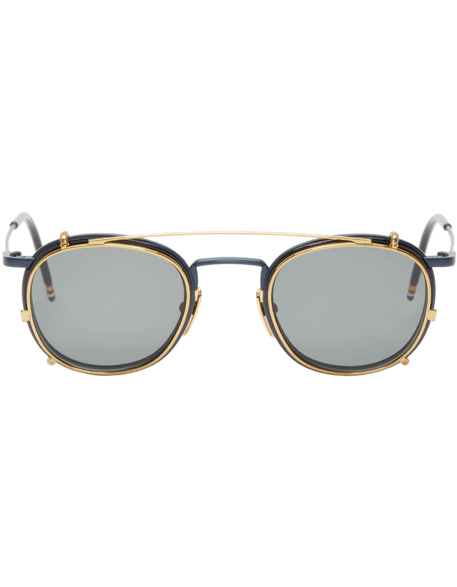 THOM BROWNE Navy & Gold Clip On Sunglasses