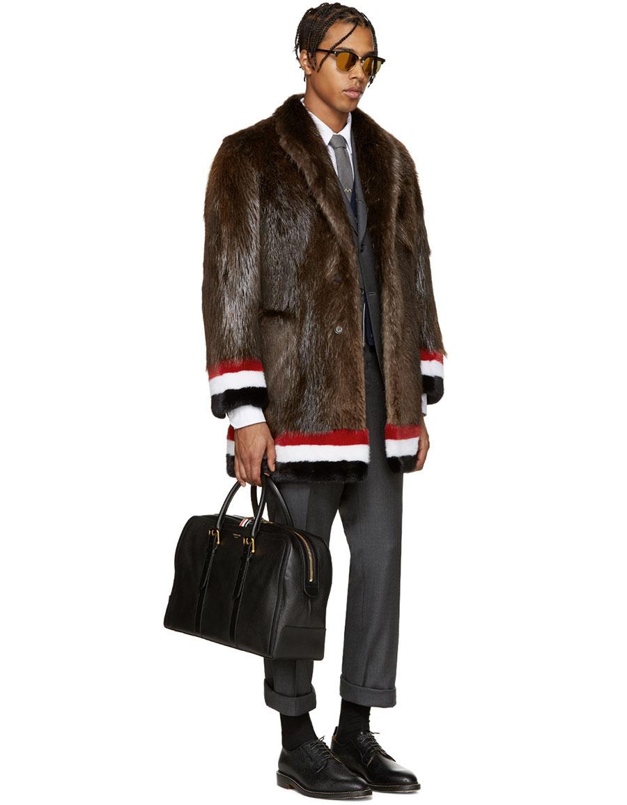 THOM BROWNE Brown & Tricolor Fur Coat