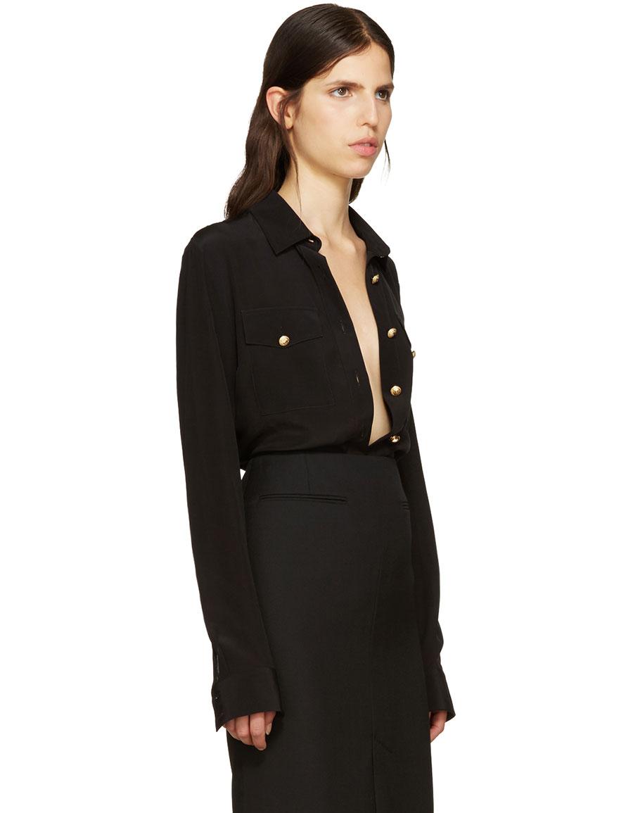 BALMAIN Black Silk Classic Shirt
