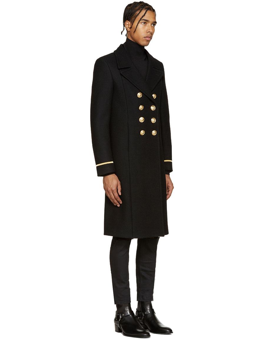 SAINT LAURENT Black Double Breasted Military Coat