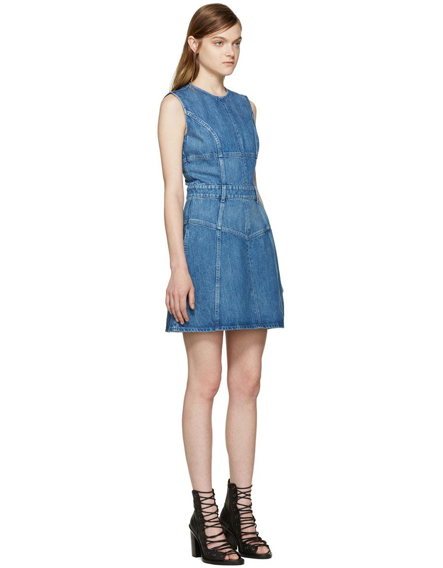 ALEXANDER MCQUEEN Blue Denim Dress