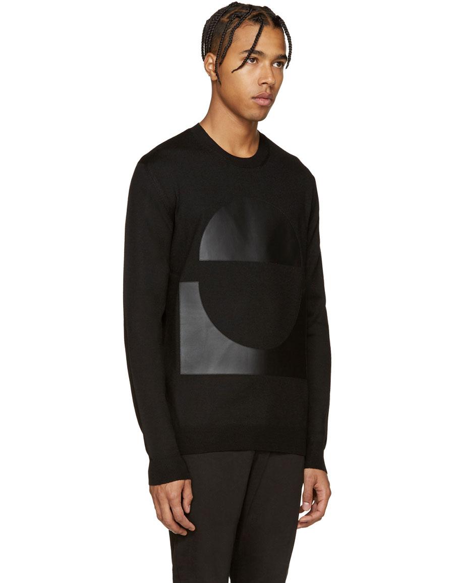 ALEXANDER MCQUEEN Black Geometric Patch Pullover