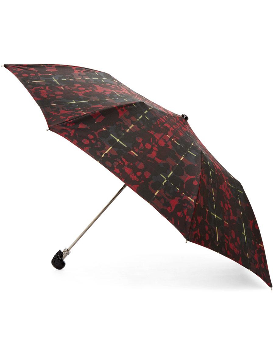 ALEXANDER MCQUEEN Red & Black Tartan Compact Umbrella