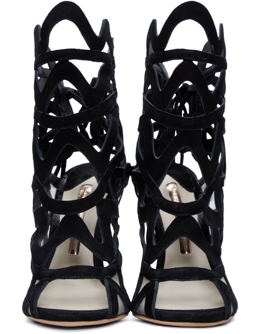 SOPHIA WEBSTER Black Suede Mila Cage Sandals