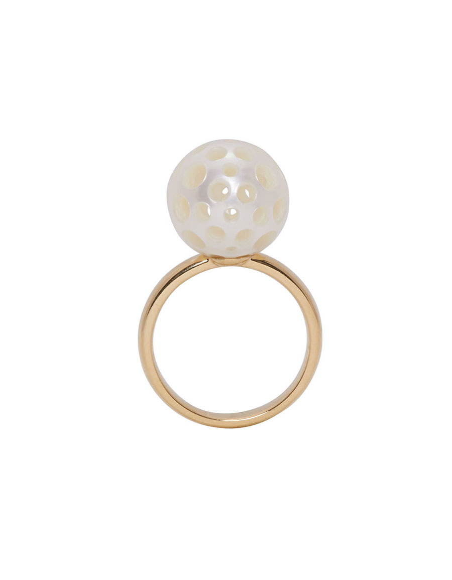 MELANIE GEORGACOPOULOS Gold Drilled Pearl Tasaki Edition Ring