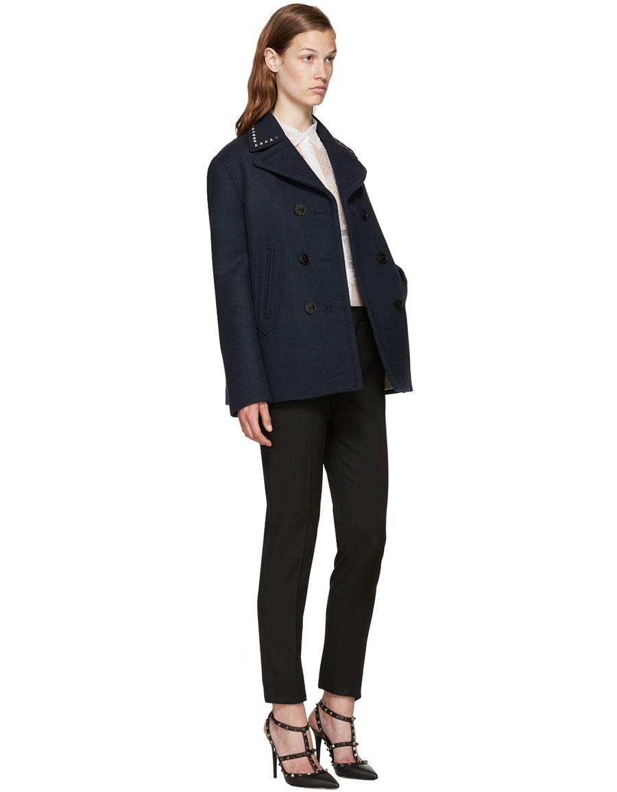 VALENTINO Navy Wool Rockstud Untitled Jacket