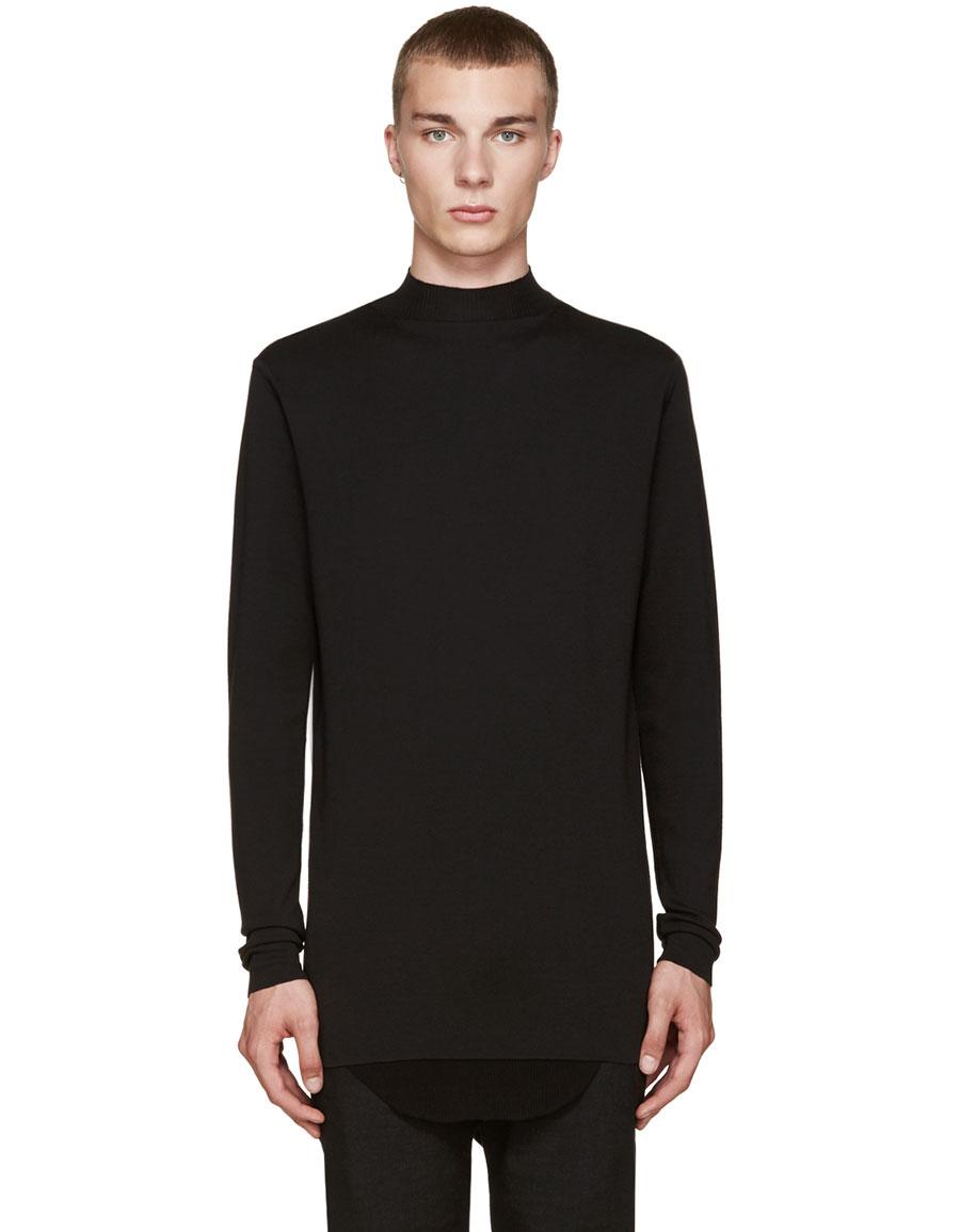 RICK OWENS Black Wool Mock Neck Sweater