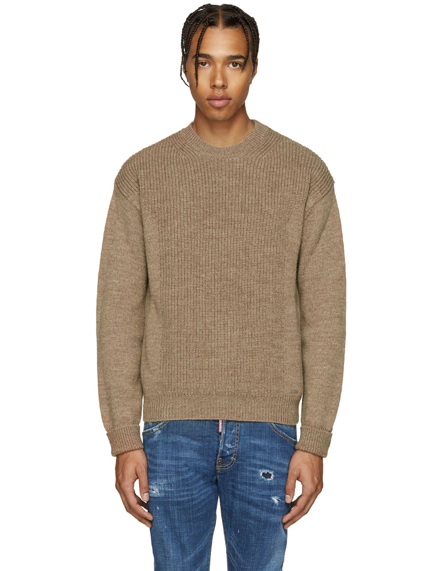 DSQUARED2 Camel Military Knit Sweater