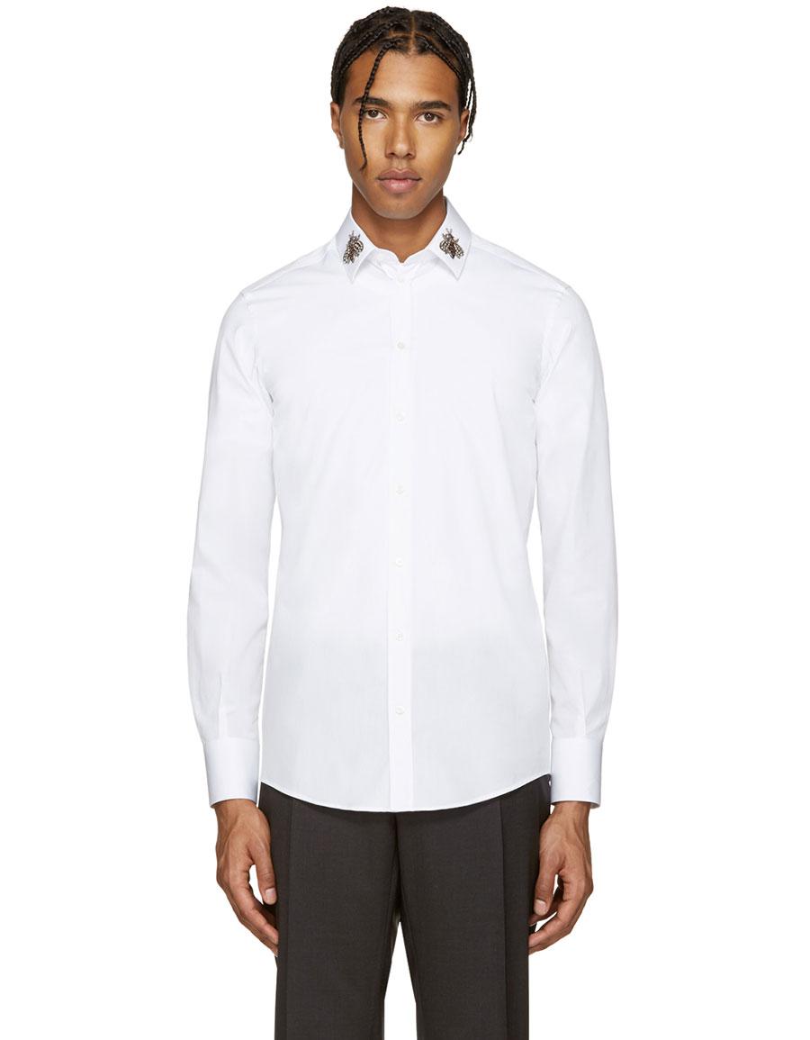 DOLCE & GABBANA White Embellished Bees Shirt