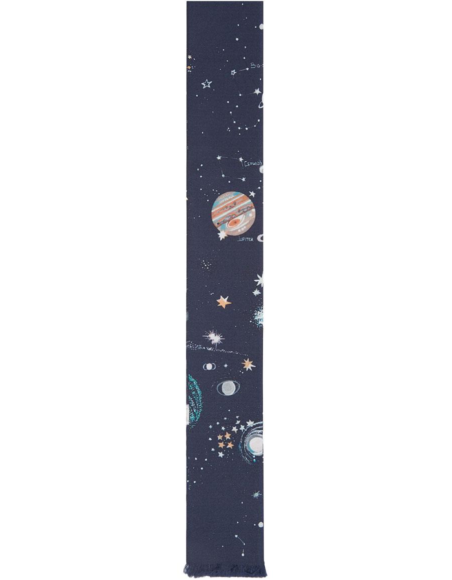 VALENTINO Navy Silk Constellations Tie