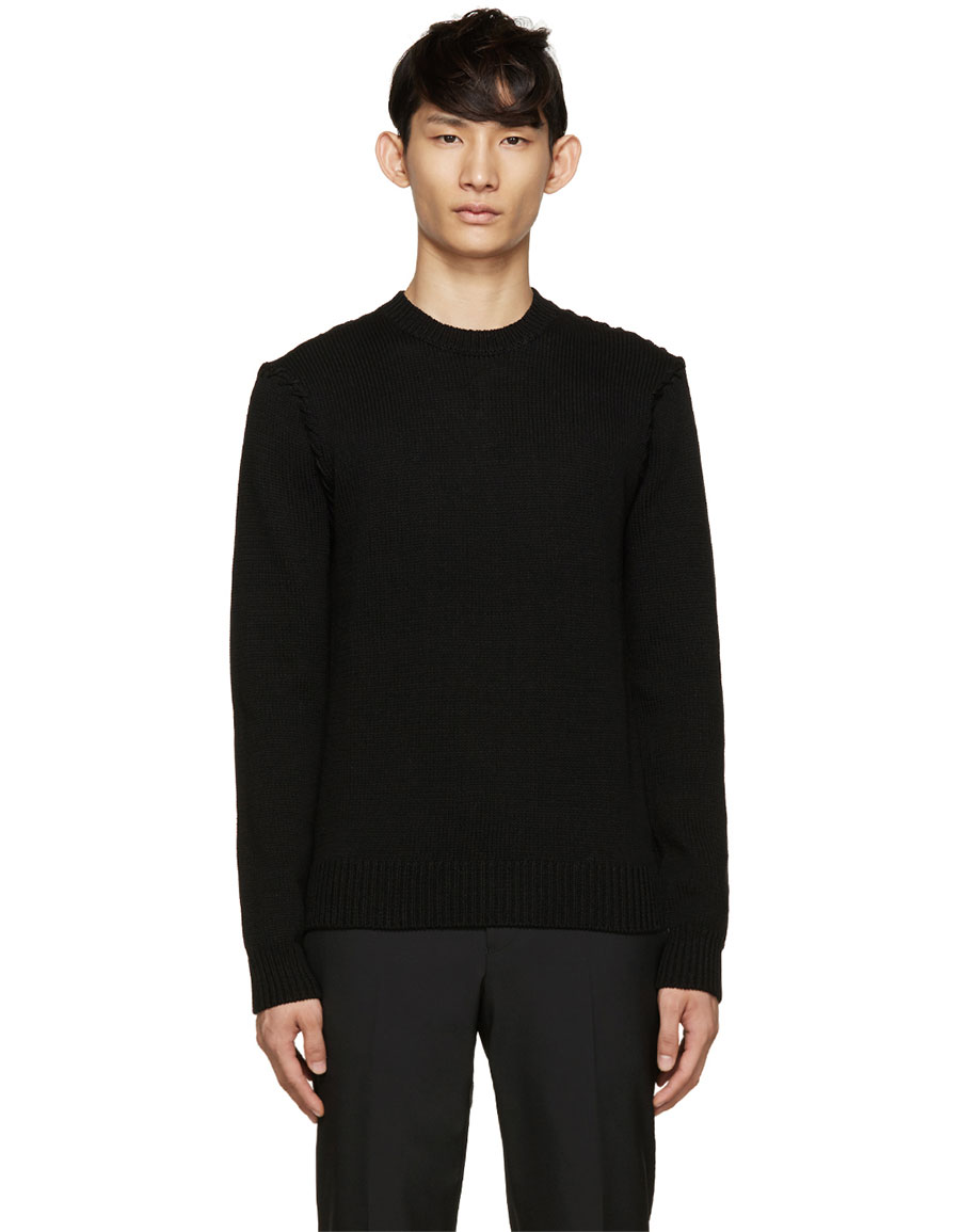 GIVENCHY Black Topstitched Sweater