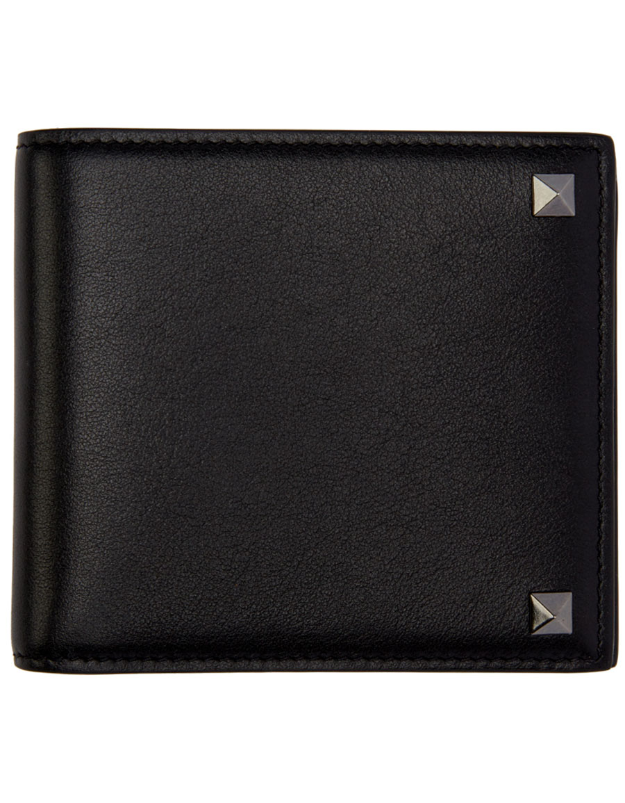 VALENTINO Black Leather Rockstud Bifold Wallet