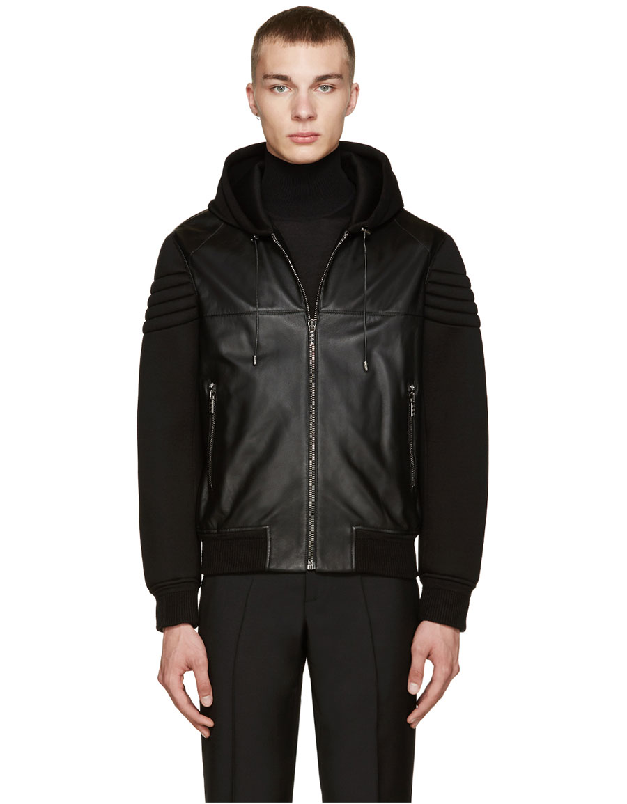 VERSACE Black Leather & Neoprene Jacket