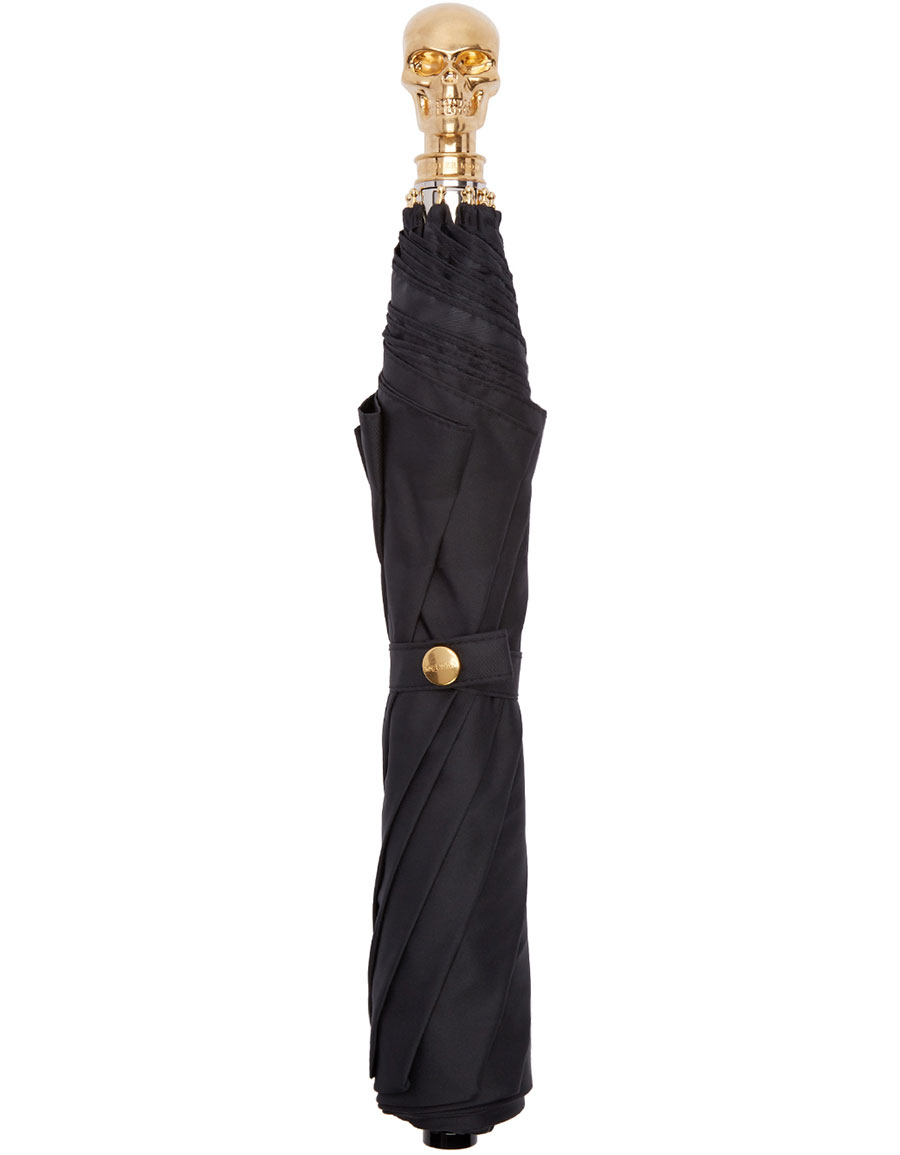 ALEXANDER MCQUEEN Black & Gold Skull Umbrella