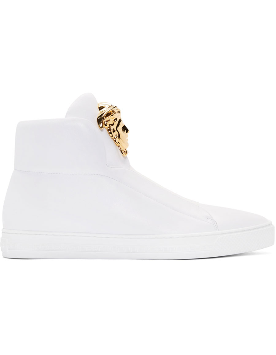 VERSACE White Leather Medusa High Top Sneakers