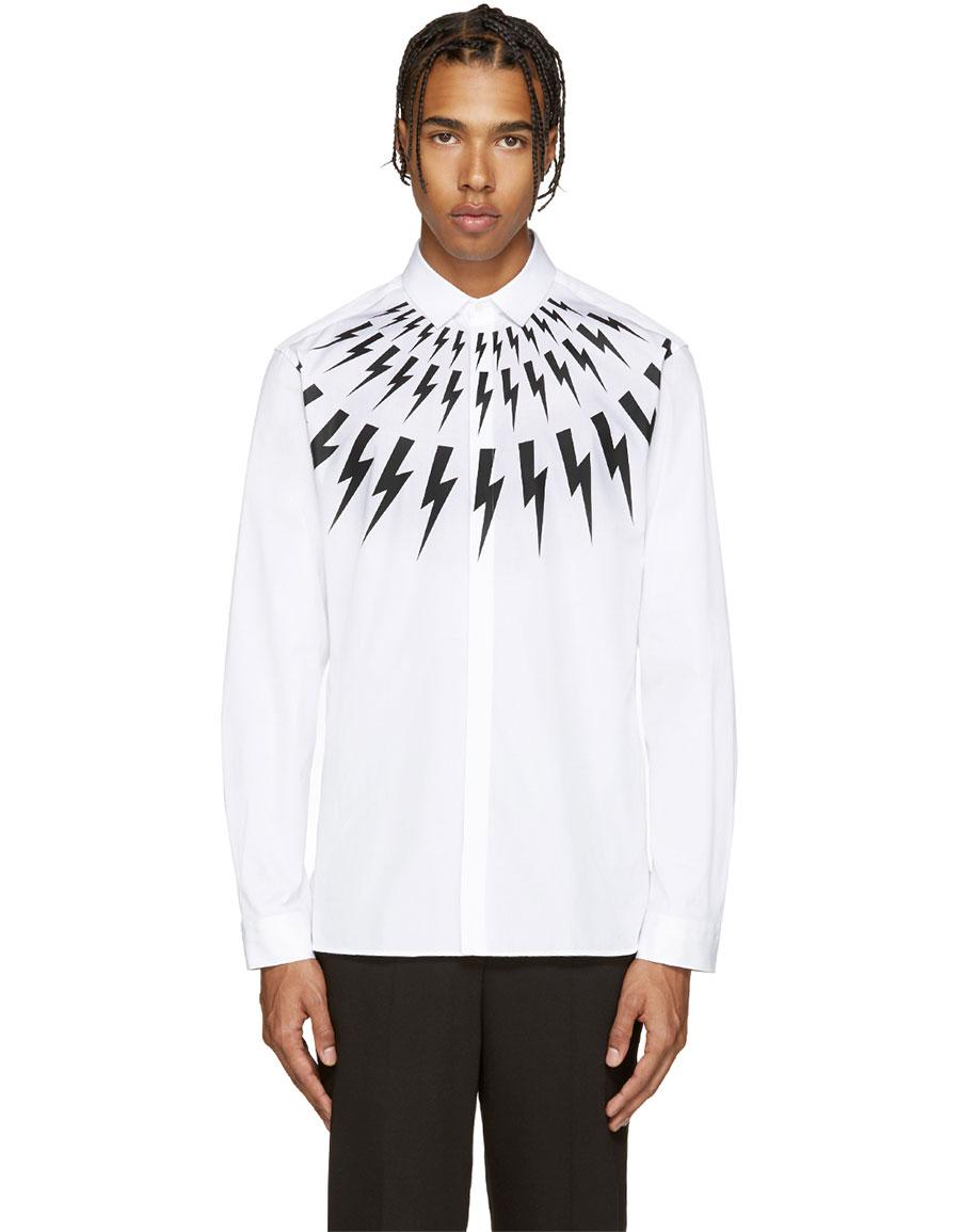 NEIL BARRETT White Thunderbolt Shirt