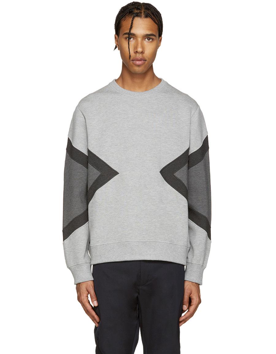 NEIL BARRETT Grey Modernist Pullover