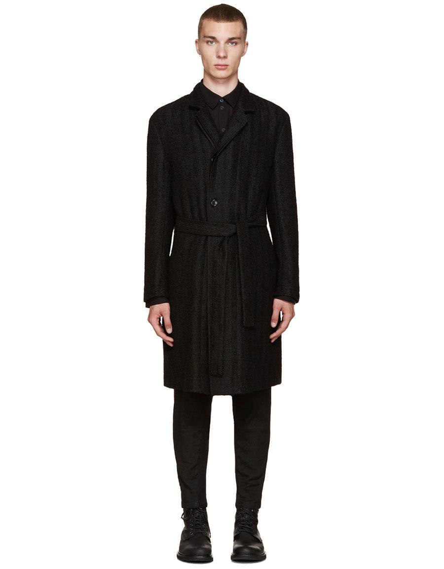 ANN DEMEULEMEESTER Black Belted Coat