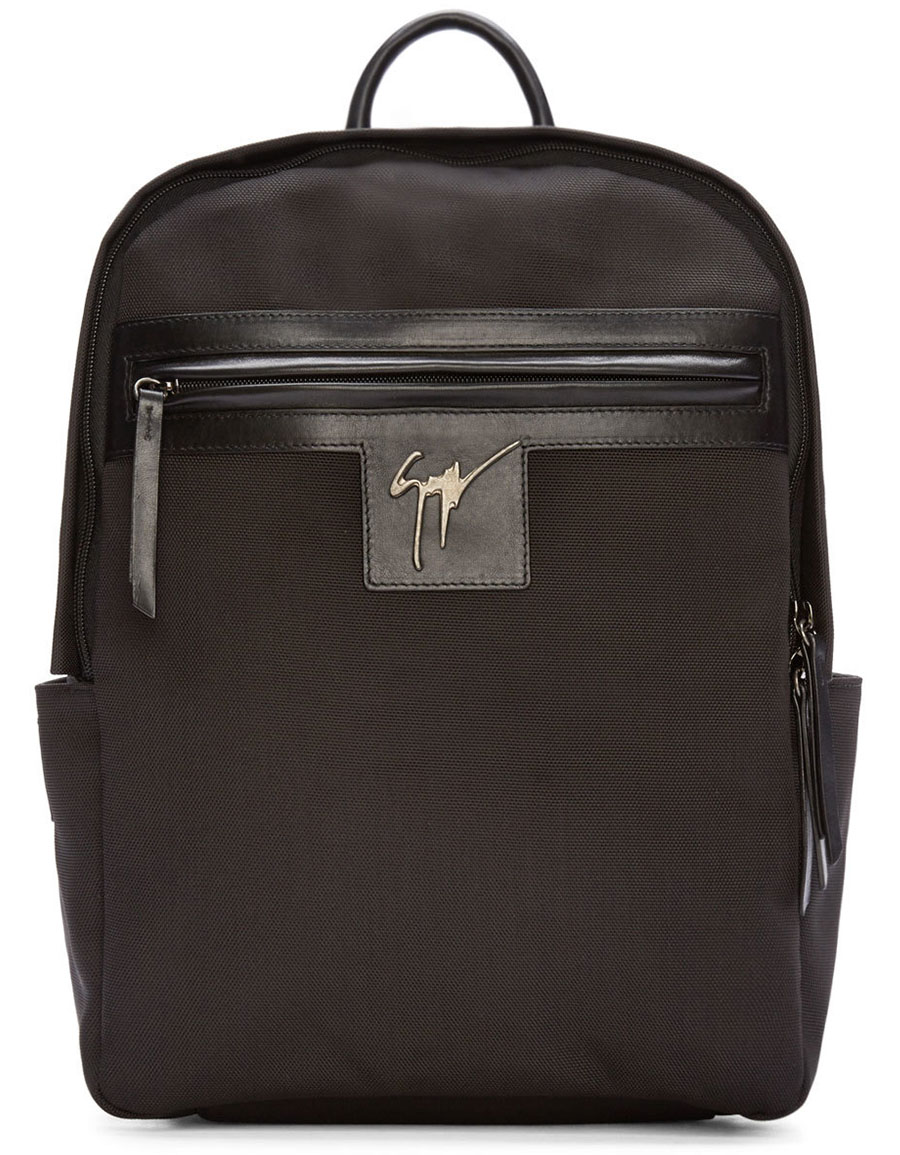 GIUSEPPE ZANOTTI Black Canvas & Leather Logo Backpack