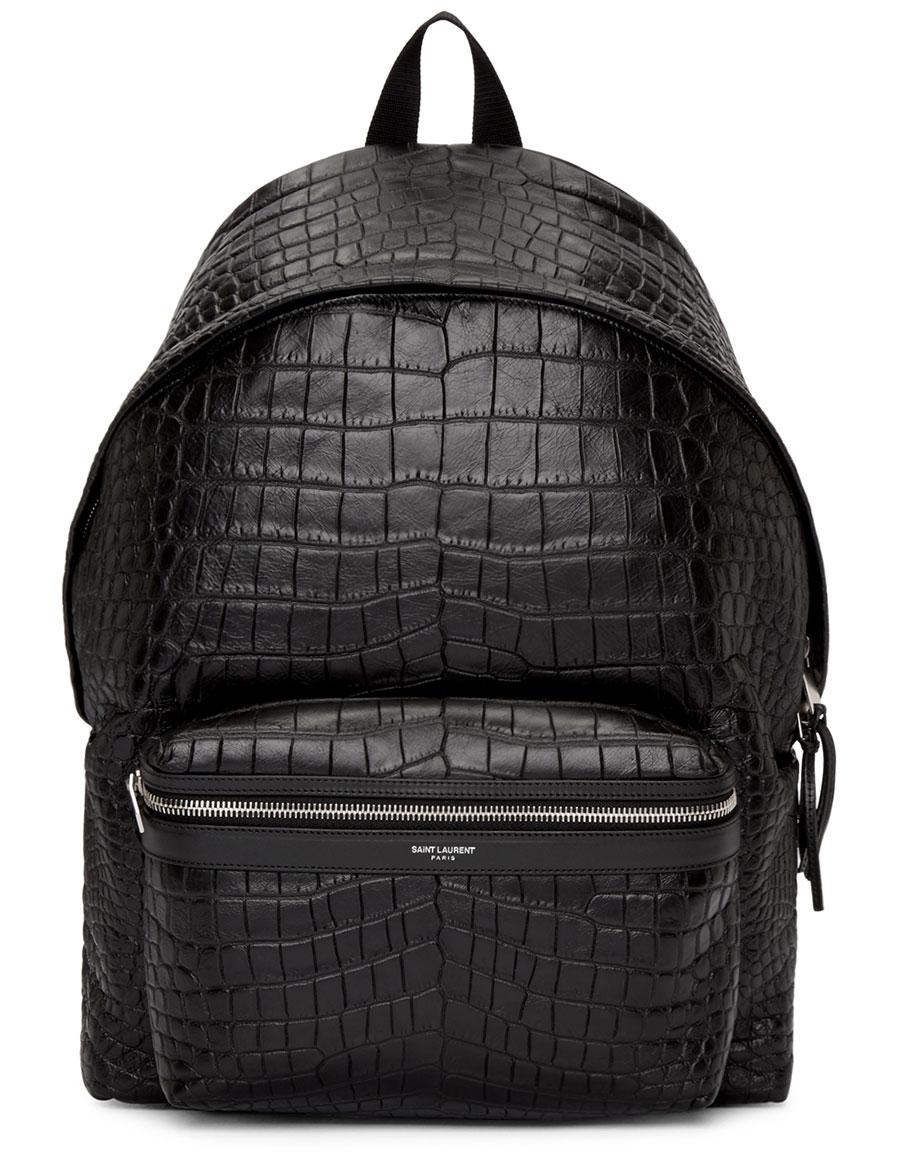 SAINT LAURENT Black Croc Embossed Leather Backpack