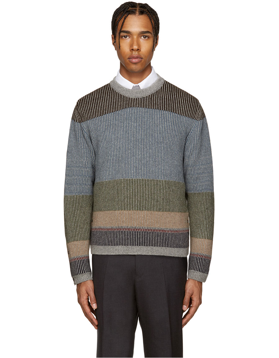 THOM BROWNE Multicolor Camel Striped Sweater