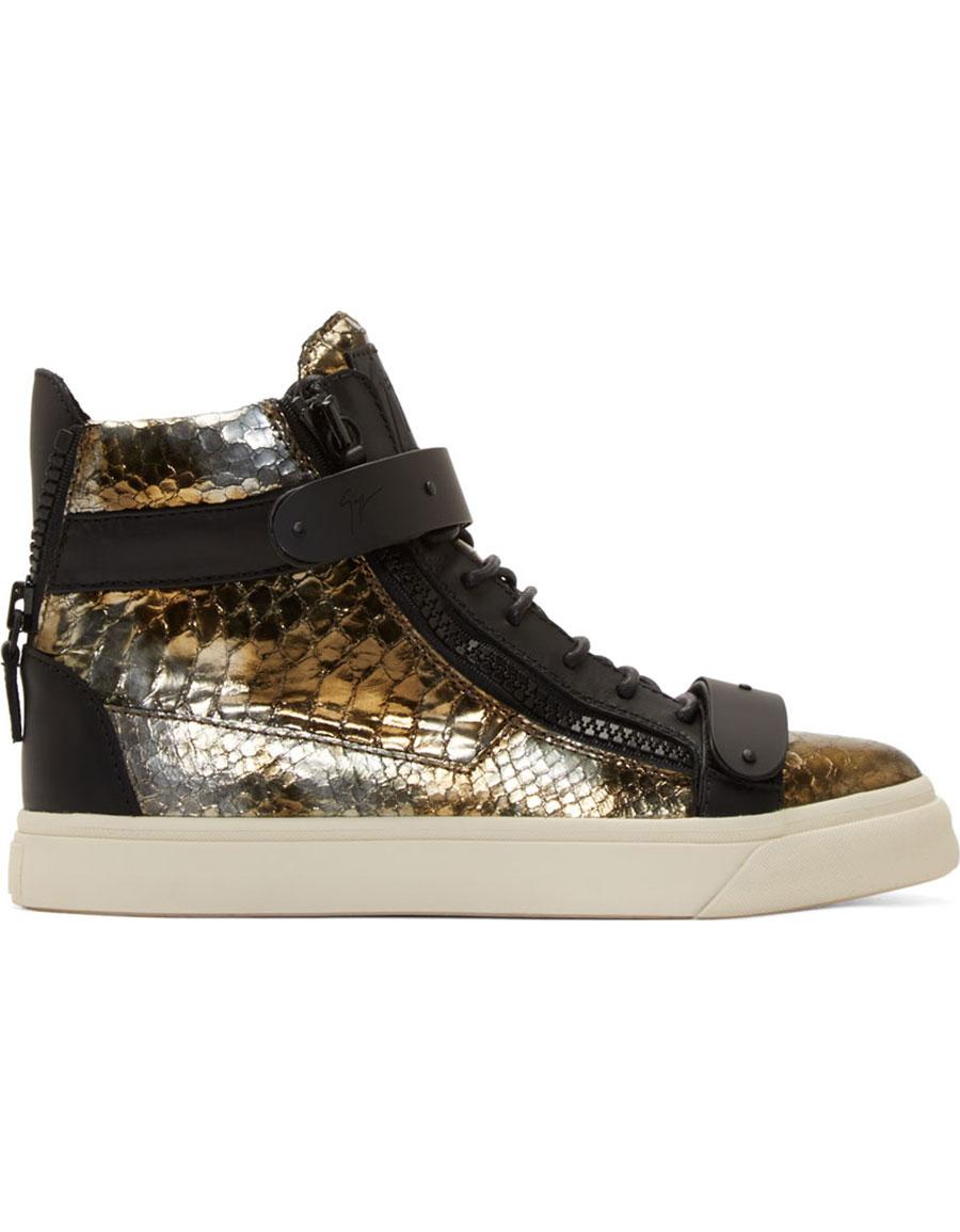 GIUSEPPE ZANOTTI Bronze & Black Snakeskin London Some Sneakers